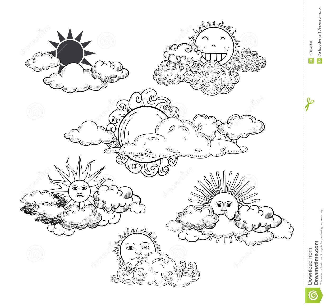 Illustration About Sun With Clouds Doodle Hand Drawn Collection Illustration Of Rain Cloud Object 63104663 Cloud Tattoo Cloud Drawing Sun Doodles