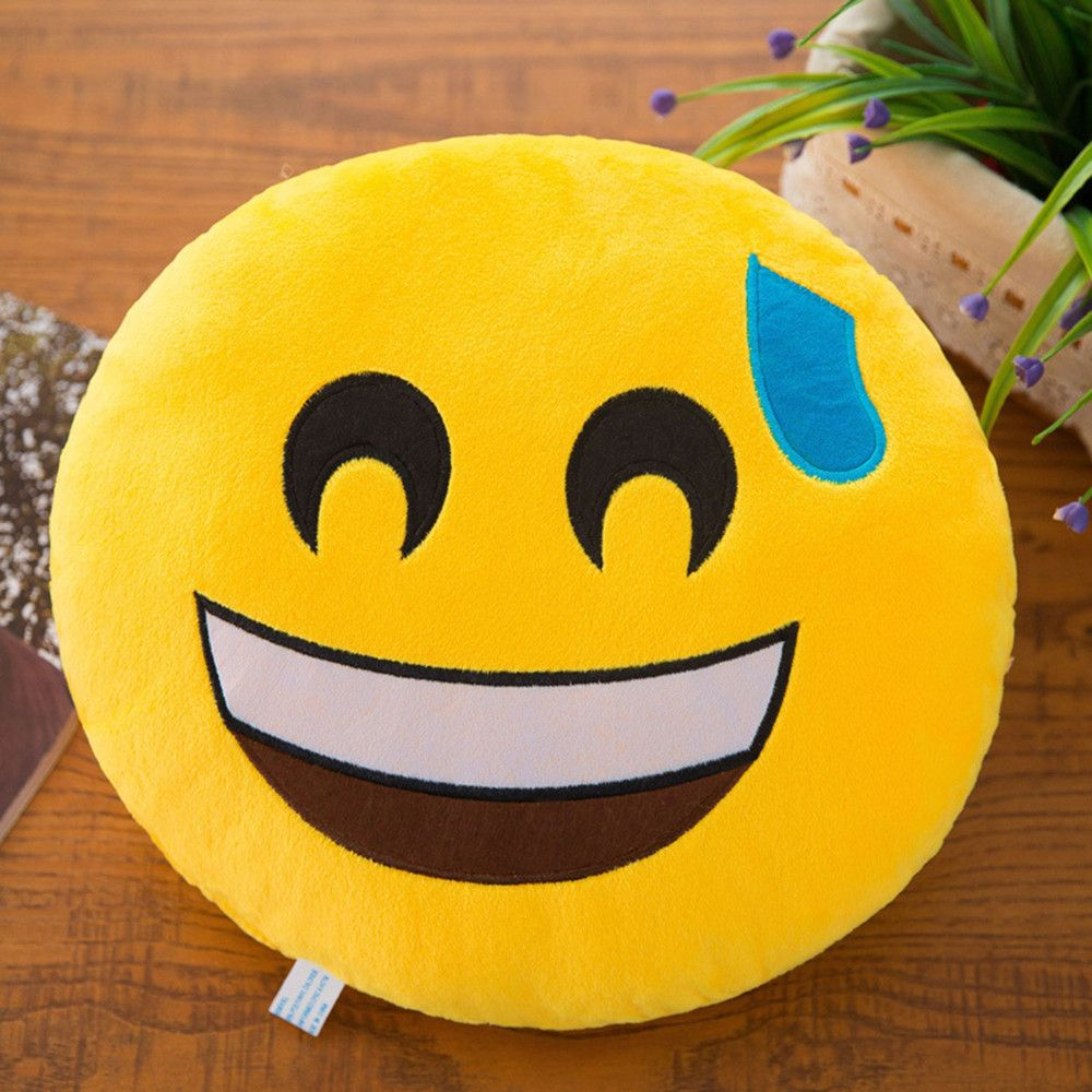 32cm Soft Expression Smiley Emoticon Stuffed Plush Toy Doll Pillow Case