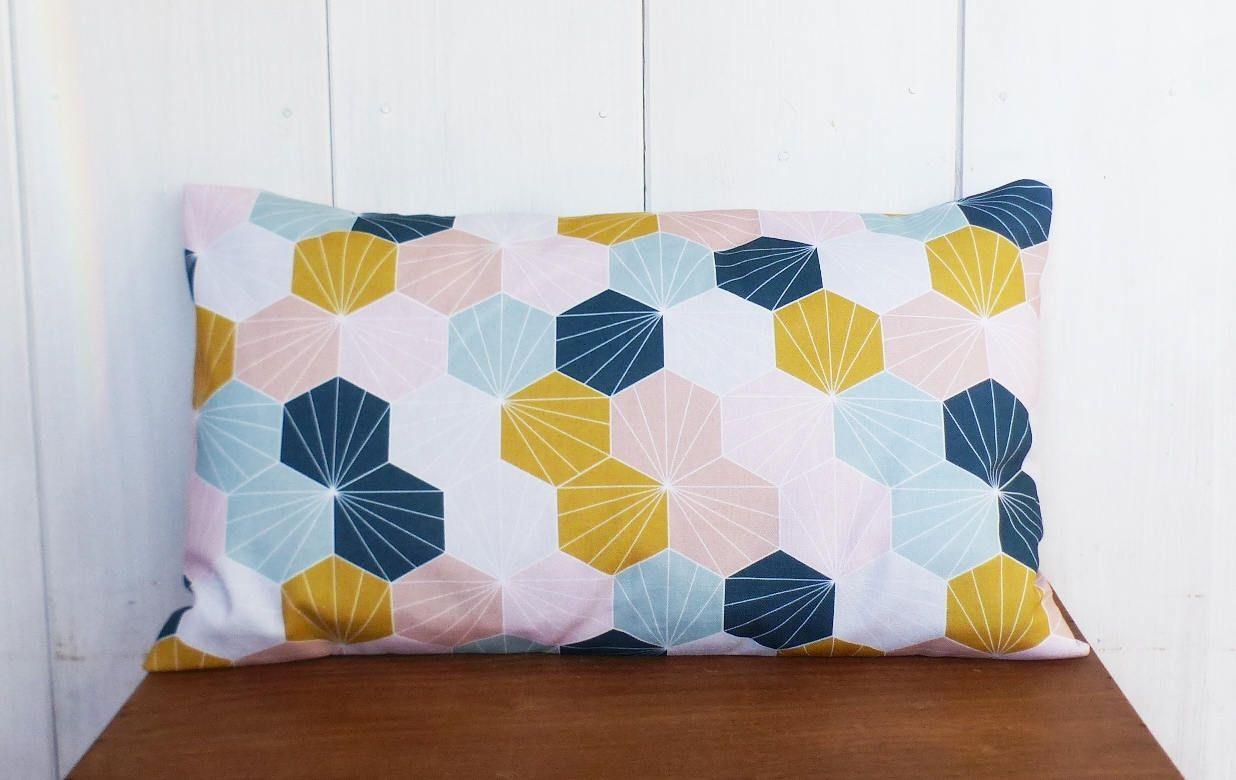 Cushion Cover 50 X 30 Cm Fabric Mustard Yellow Hexagons Motifs Ice Blue Rose Oil Scandinavian Style En 2020 Housse De Coussin Coussin Coussin Moutarde