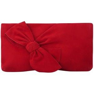 L.K. Bennett Fay Bow Clutch Bag , Roca Red Suede | A Must ...