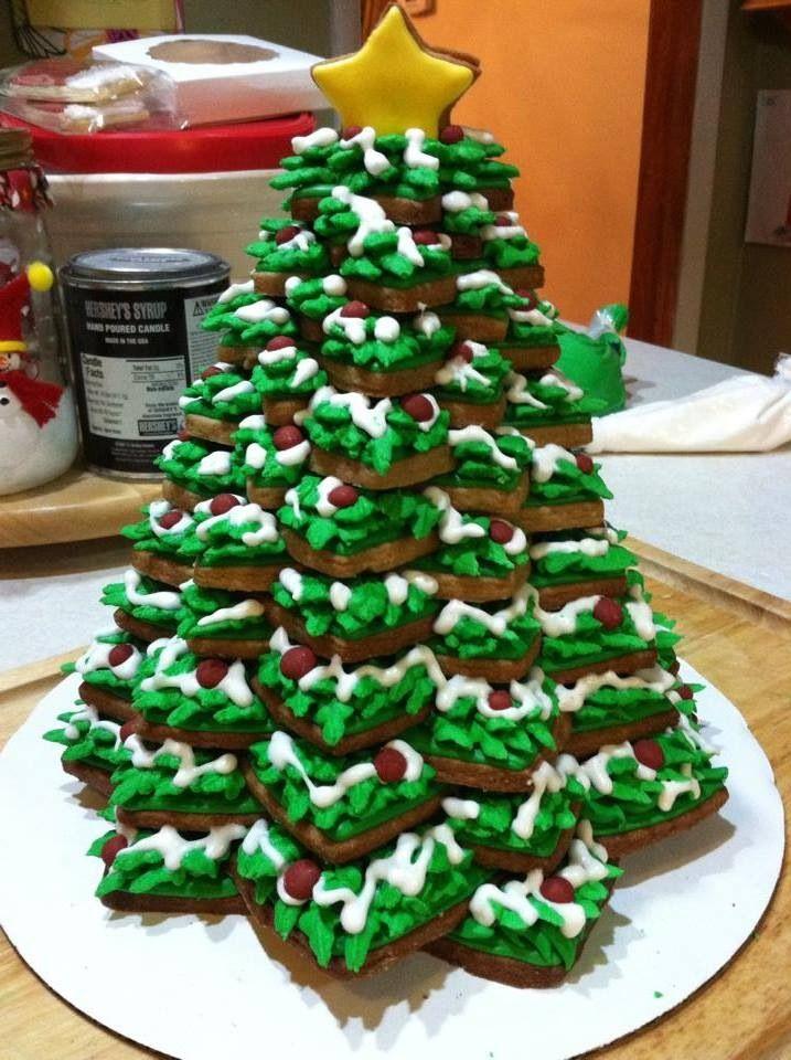 Stacked Gingerbread Cookie Tree Christmas Sugar Cookies