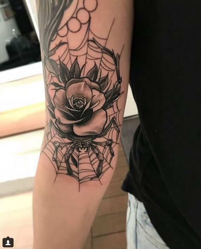 Rose On A Spider With Its Web Tattoo Designs 2018-2019