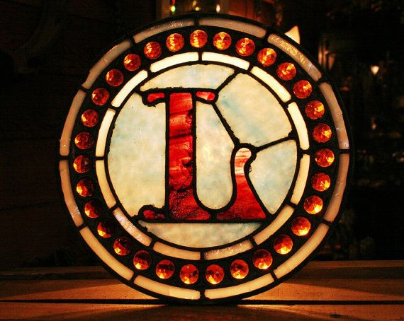 Letter L Made of Red and Blue Antique Leaded Stained Glass with 31 Amber Jewels.   $250.00 - Old Portland Hardware & Architectural, Architectural Salvage in Portland, Oregon