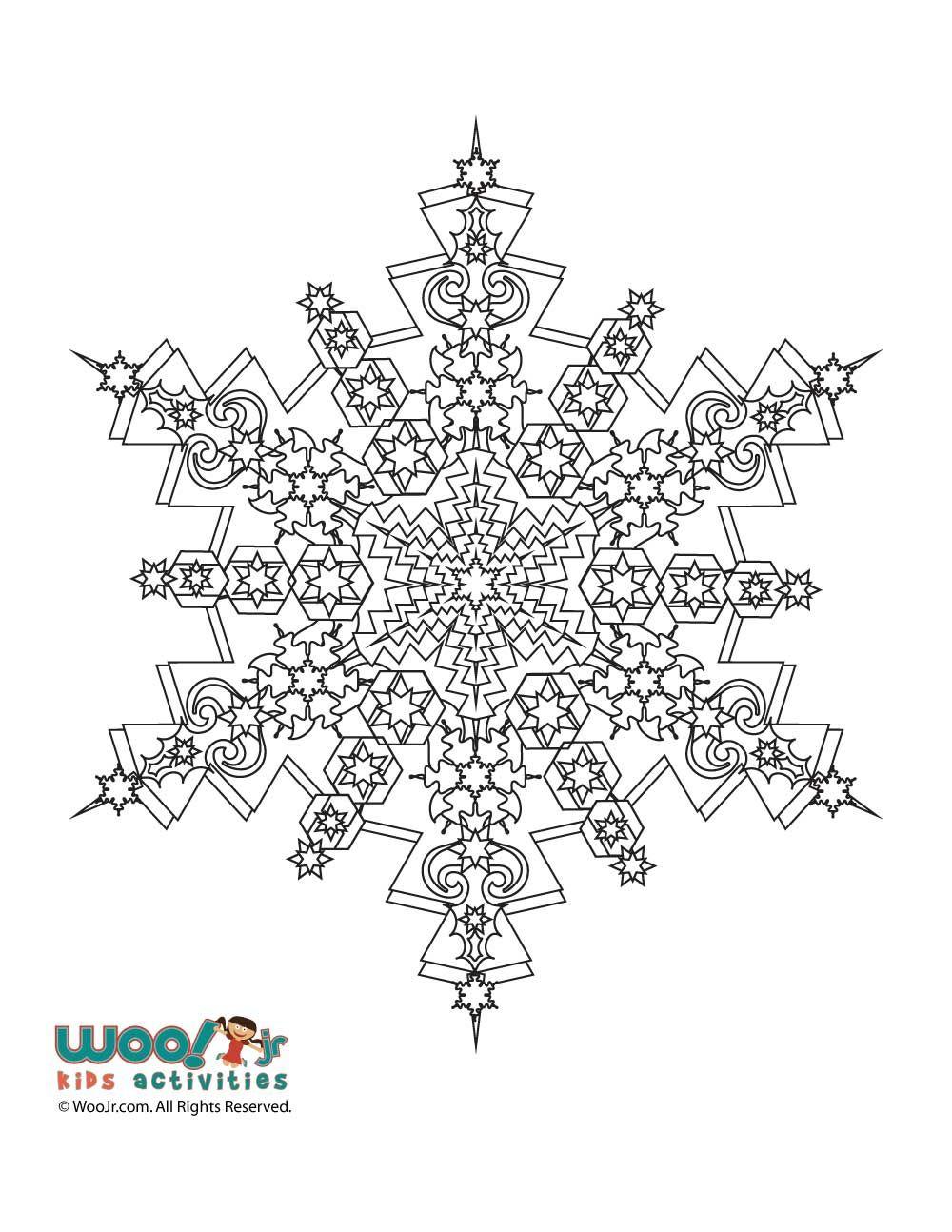 Snowflake Mandala Winter Adult Coloring Page Mandala