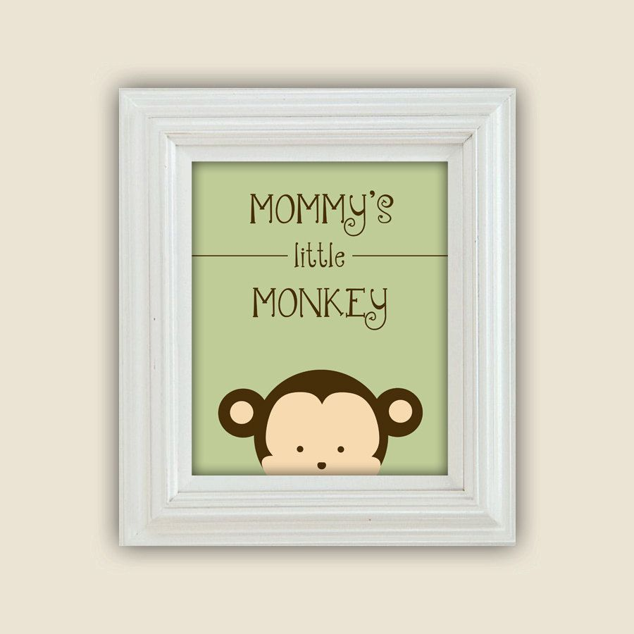 Mommy\'s Little Monkey Printable Peekaboo Wall Art Digital JPEG File ...