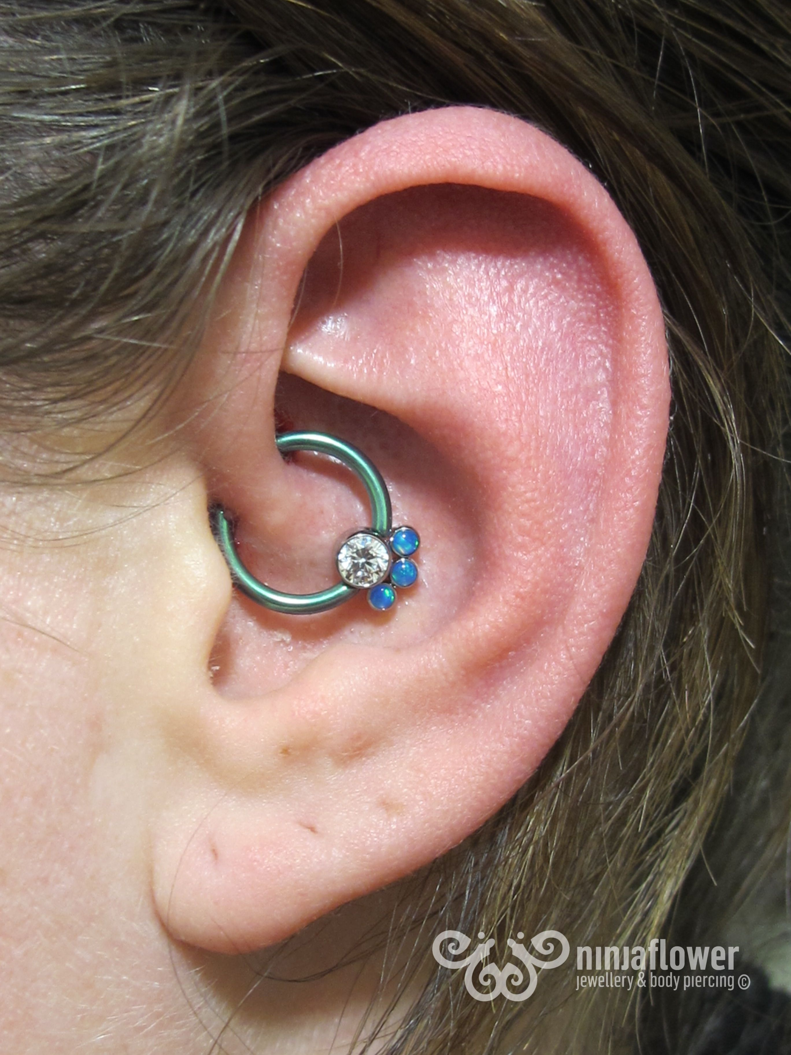 Belly button piercing healing time  Daith piercing with cluster piercing bodypiercing earpiercing