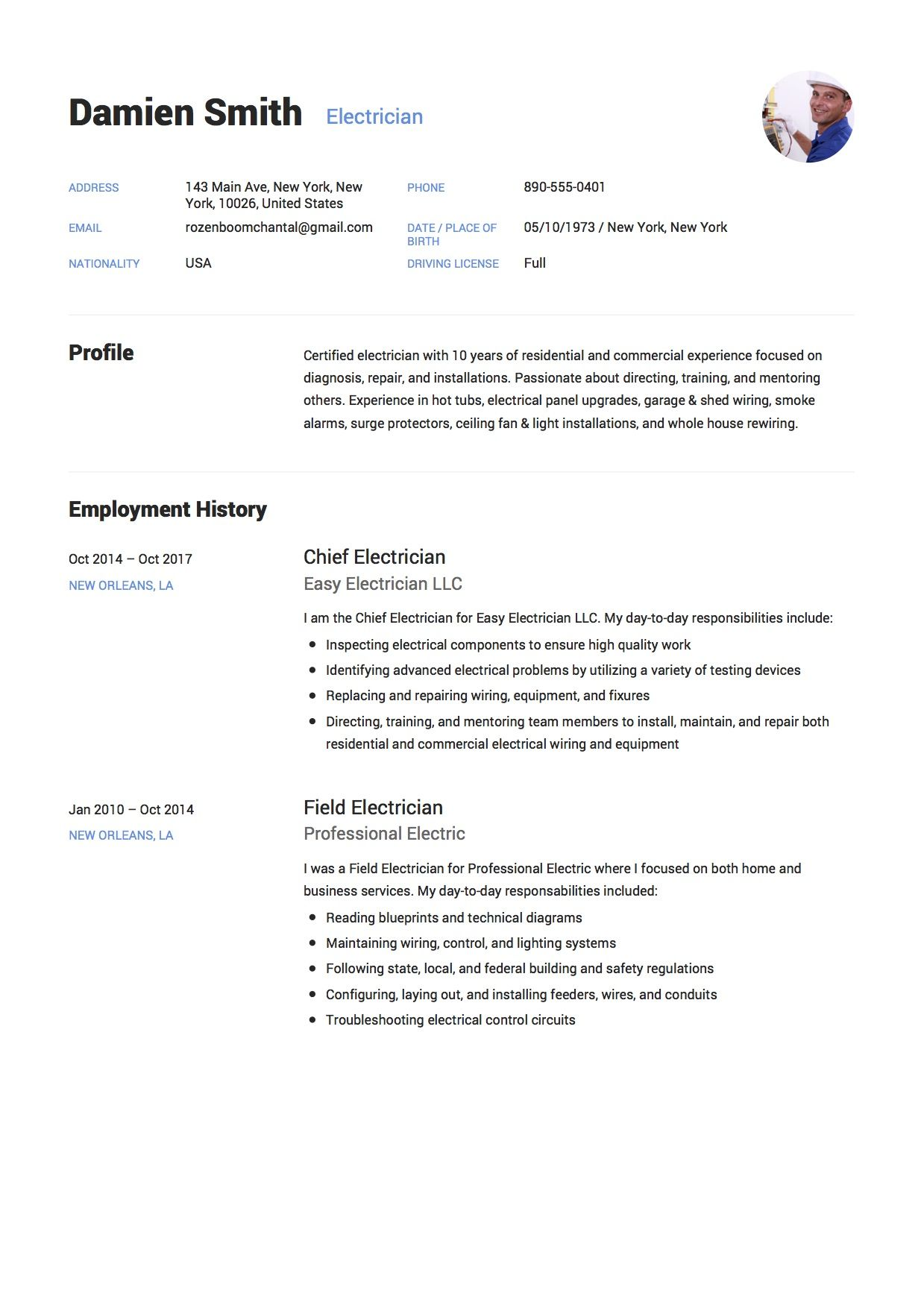 free electrician resume sample  template  example  cv