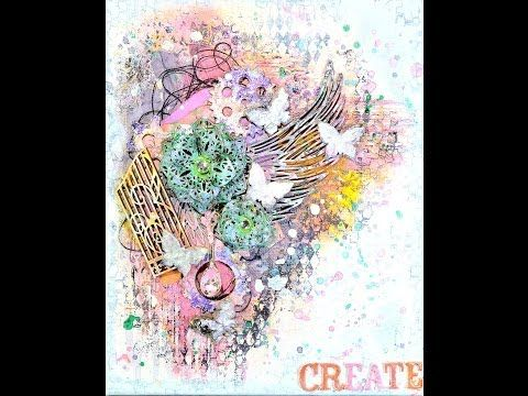 ▶ Mixed Media Altered Canvas For Shimmerz - YouTube