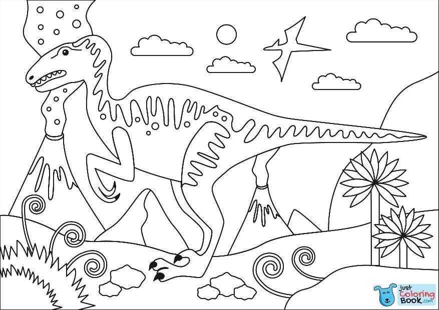 Velociraptor Cretaceous Period Dinosaur Coloring Page Free In Velociraptor Dromaeosaurid Theropod Dinosaur Coloring Pages