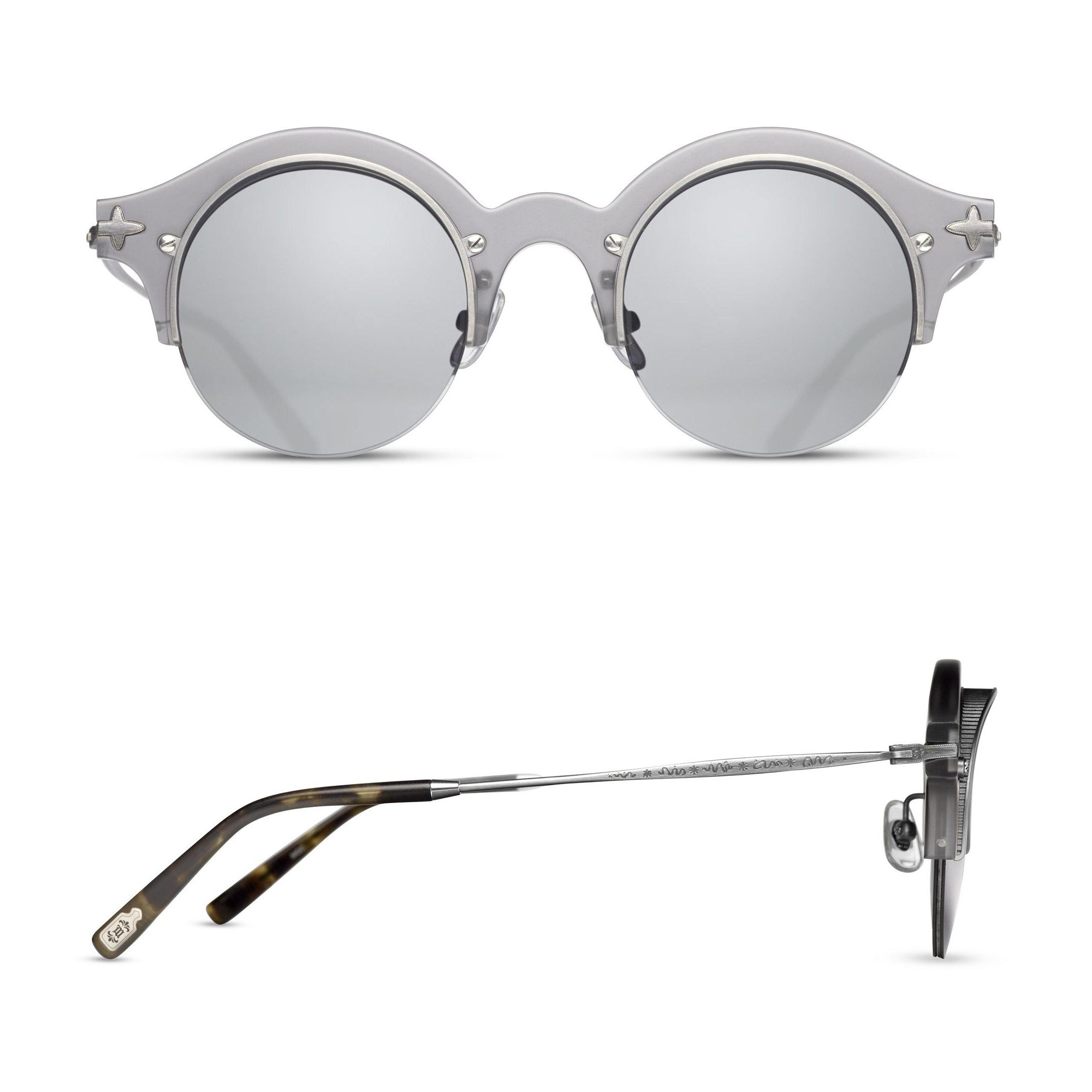 2794398e7 The Matsuda Sunglasses | M1014 is a unique style constructed of Japanese  acetate and engraved metals. The round shape and visors mounted to the  front were ...