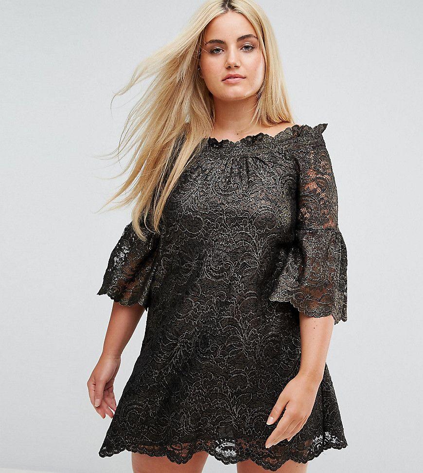 Elvi - Schulterfreies Skaterkleid aus Spitze mit ausgestellten ...
