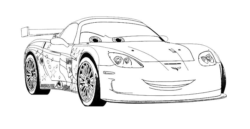 jeff gorvette personaggio cars 2 da colorare - Car Coloring Page 2
