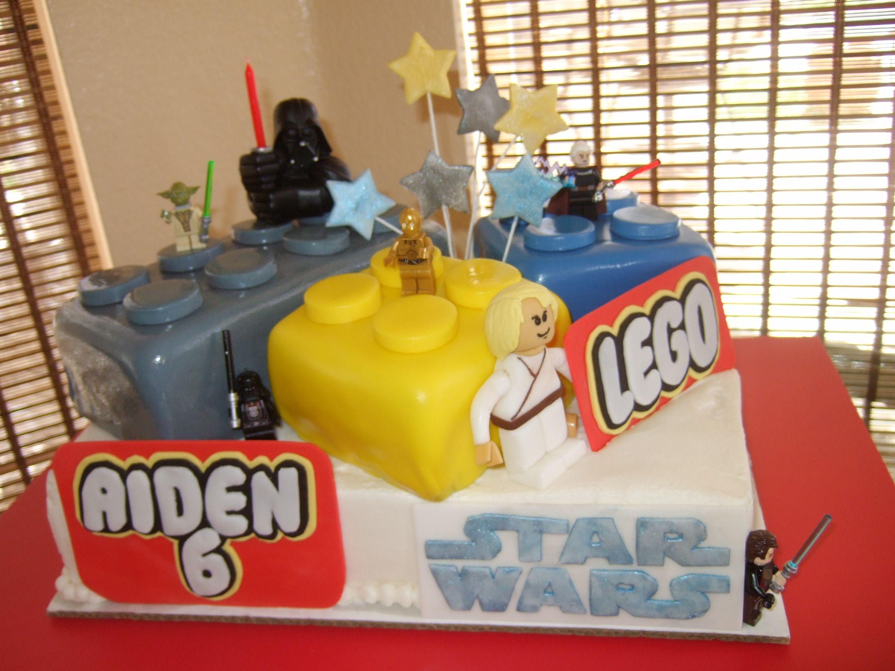 Star Wars Lego Decorations Star Wars Lego Birthday Cake Fondant Luke Skywalker Buttercream