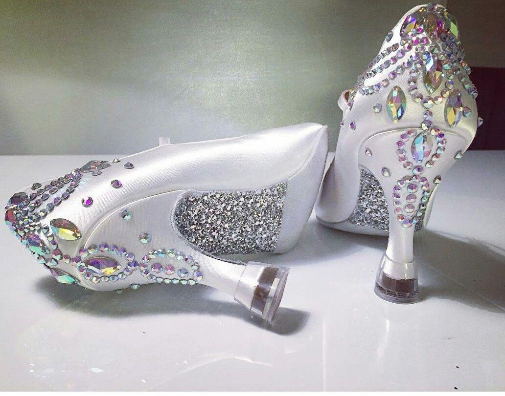 White Ballroom Dance Shoes with custom