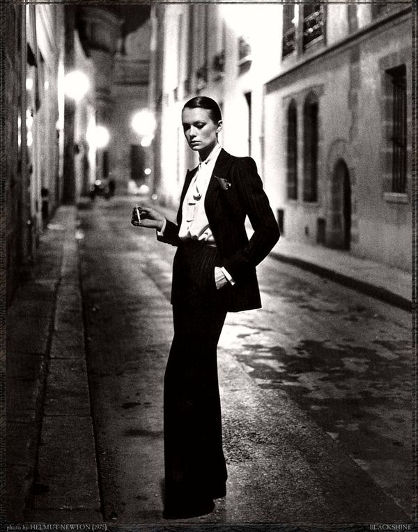 19512c44d519e Yves-Saint-Laurent, french Vogue, rue Aubriot, Paris, 1975 - Helmut Newton