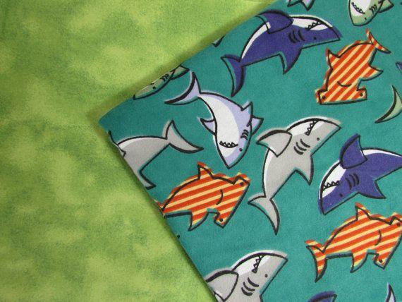 Baby Blanket Handmade Shark Print Flannel Personalized Blanket Baby Shower Gift Stroller Blanket