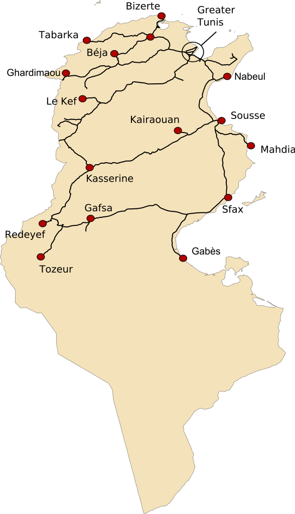 A map of the railway network of Tunisia, including major cities ...