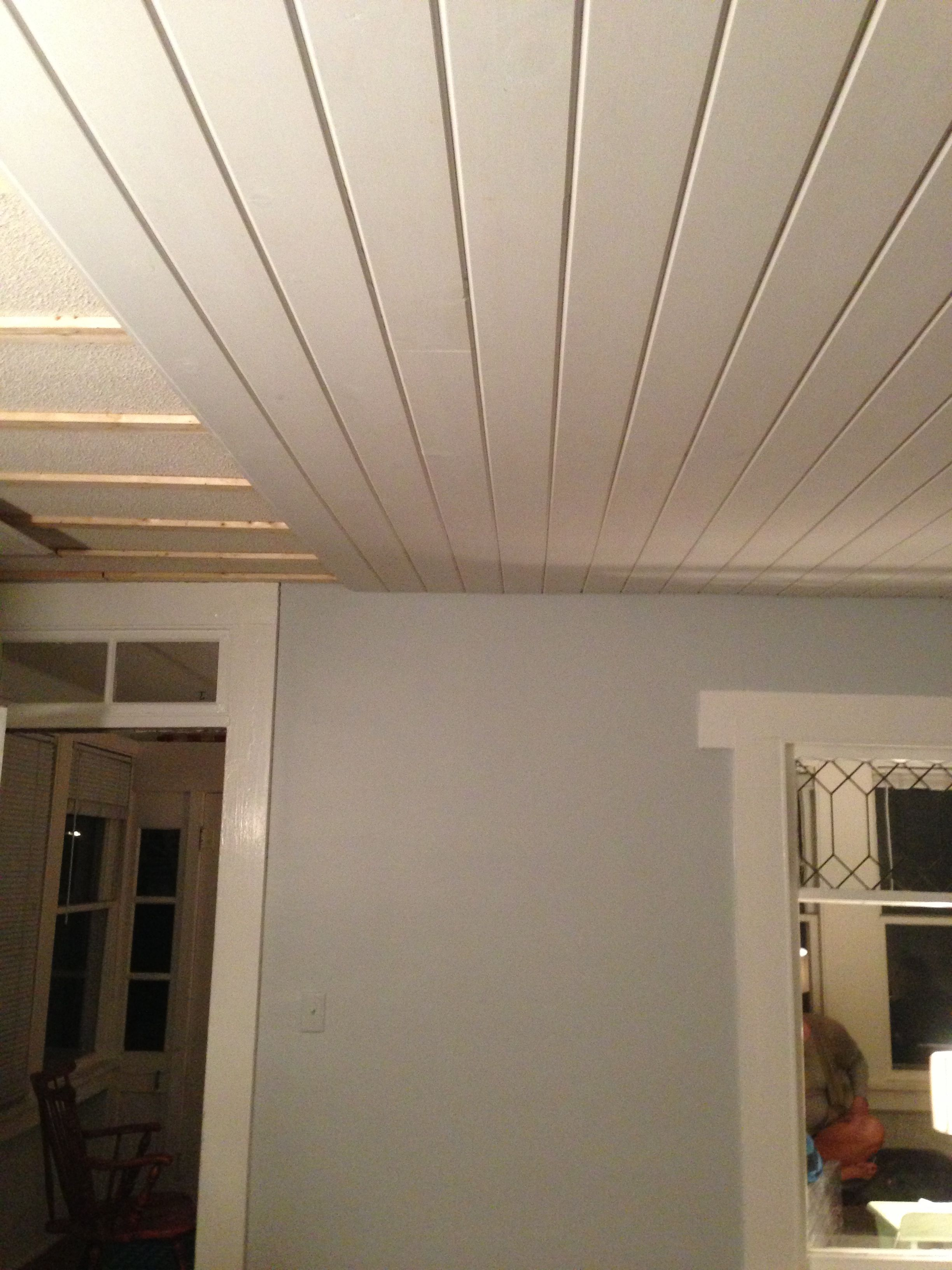 Tongue And Groove Pine Over Old Ceiling Clear Lake Ia Tongue