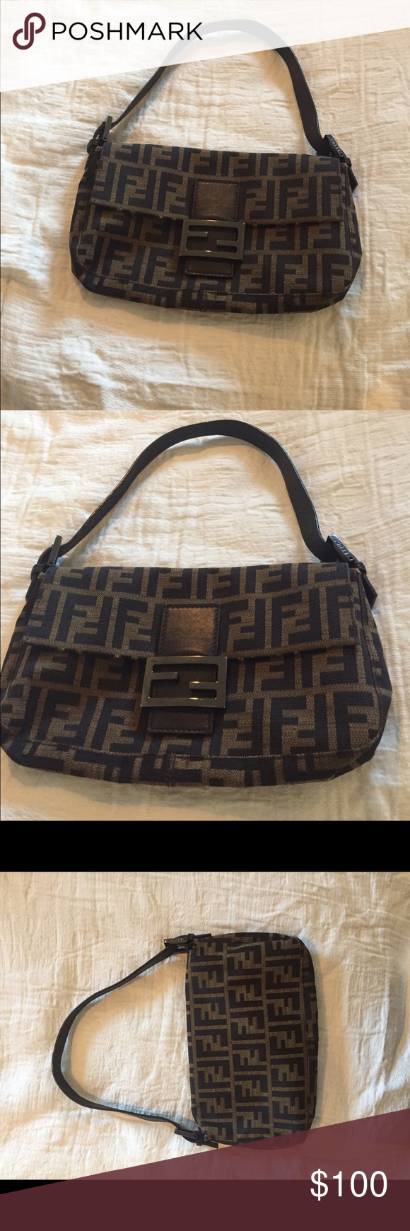 Authentic Fendi Zucca Baguette Shoulder Bag Bought this years ago at Saks  and barely used it--great condition! If you want more pictures or have  questions ... e2d95aef265b2