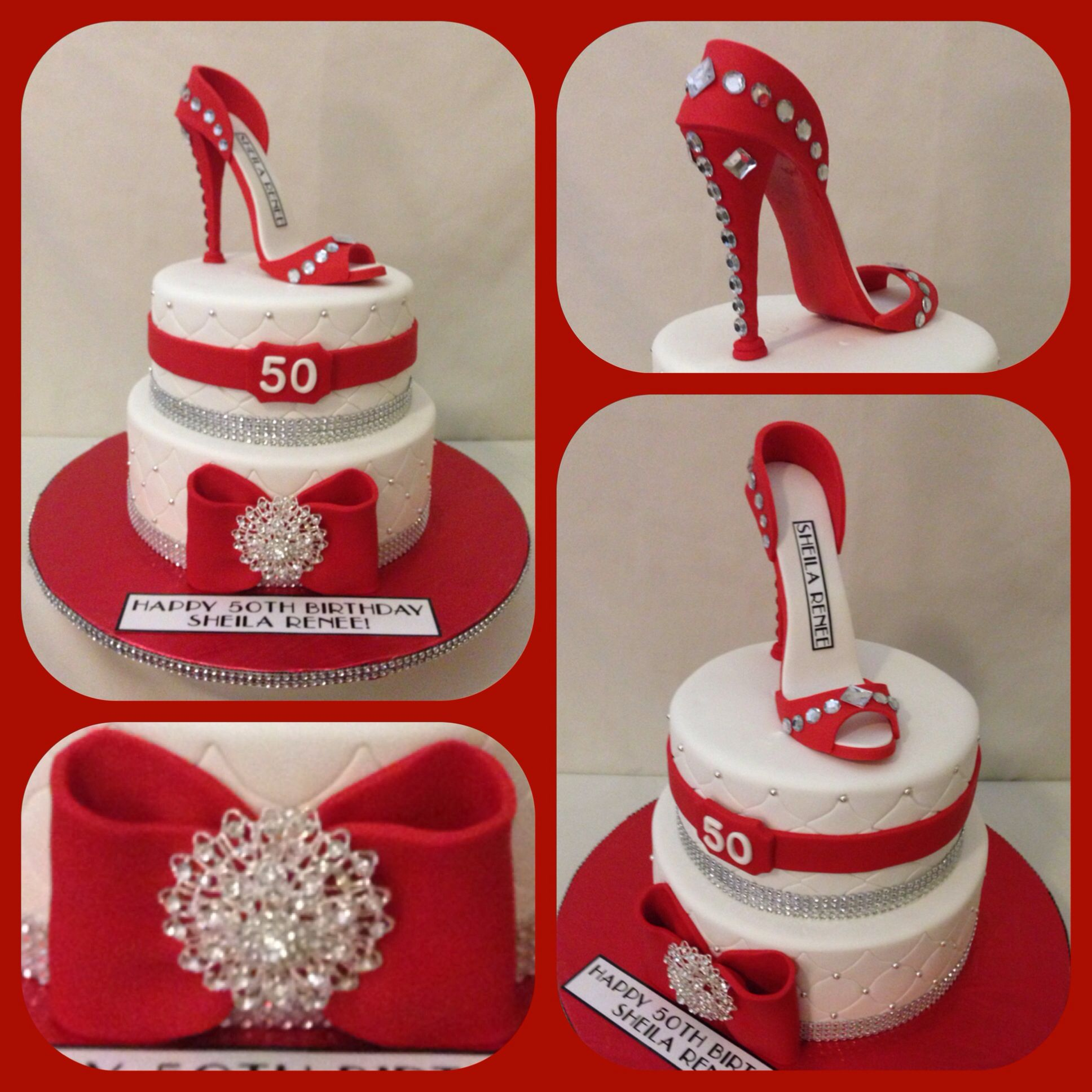 Red White And Bling Two Tiered Birthday Cake With Fondant