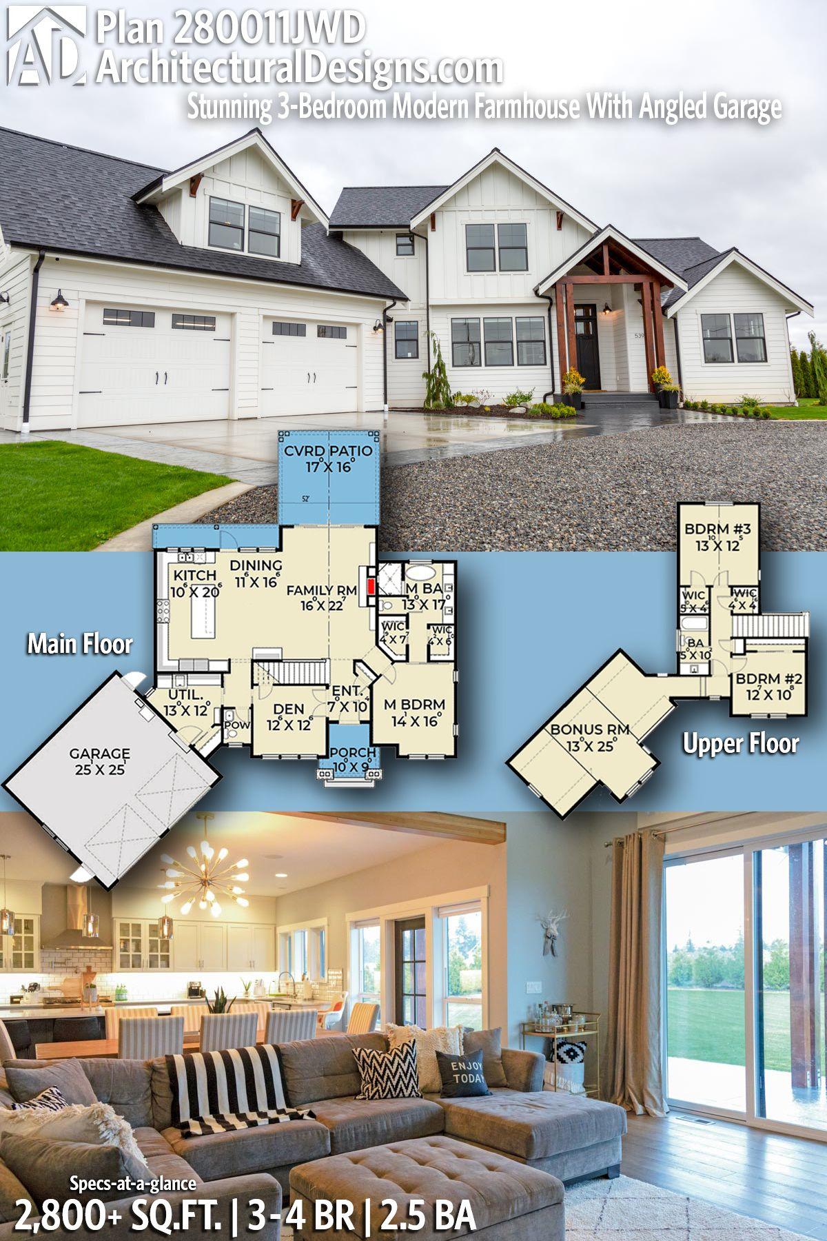 Plan 280011jwd Stunning 3 Bedroom Modern Farmhouse With Angled Garage Farmhouse Style House Interior Farmhouse Style House Modern Farmhouse Plans