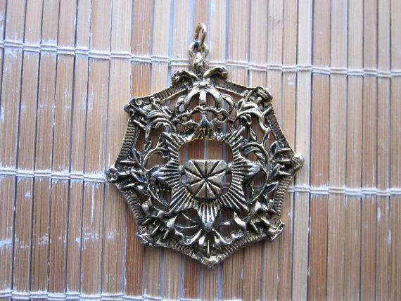 Large Art Nouveau Style Gold Plated Medallion by Gementia13Jewels, $36.00