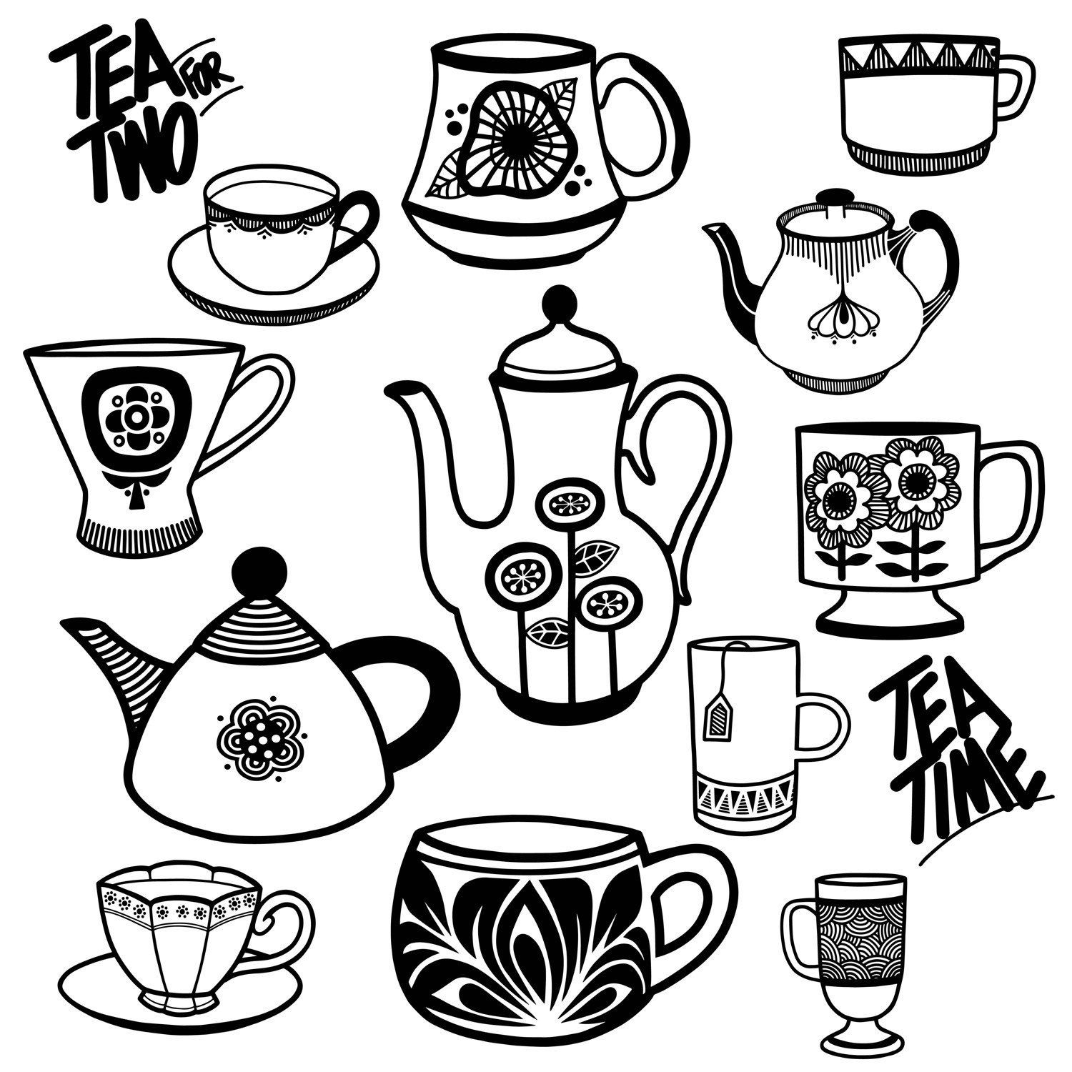 Tea Party Clip Art Bridal Shower Clip Art Tea Pots Tea
