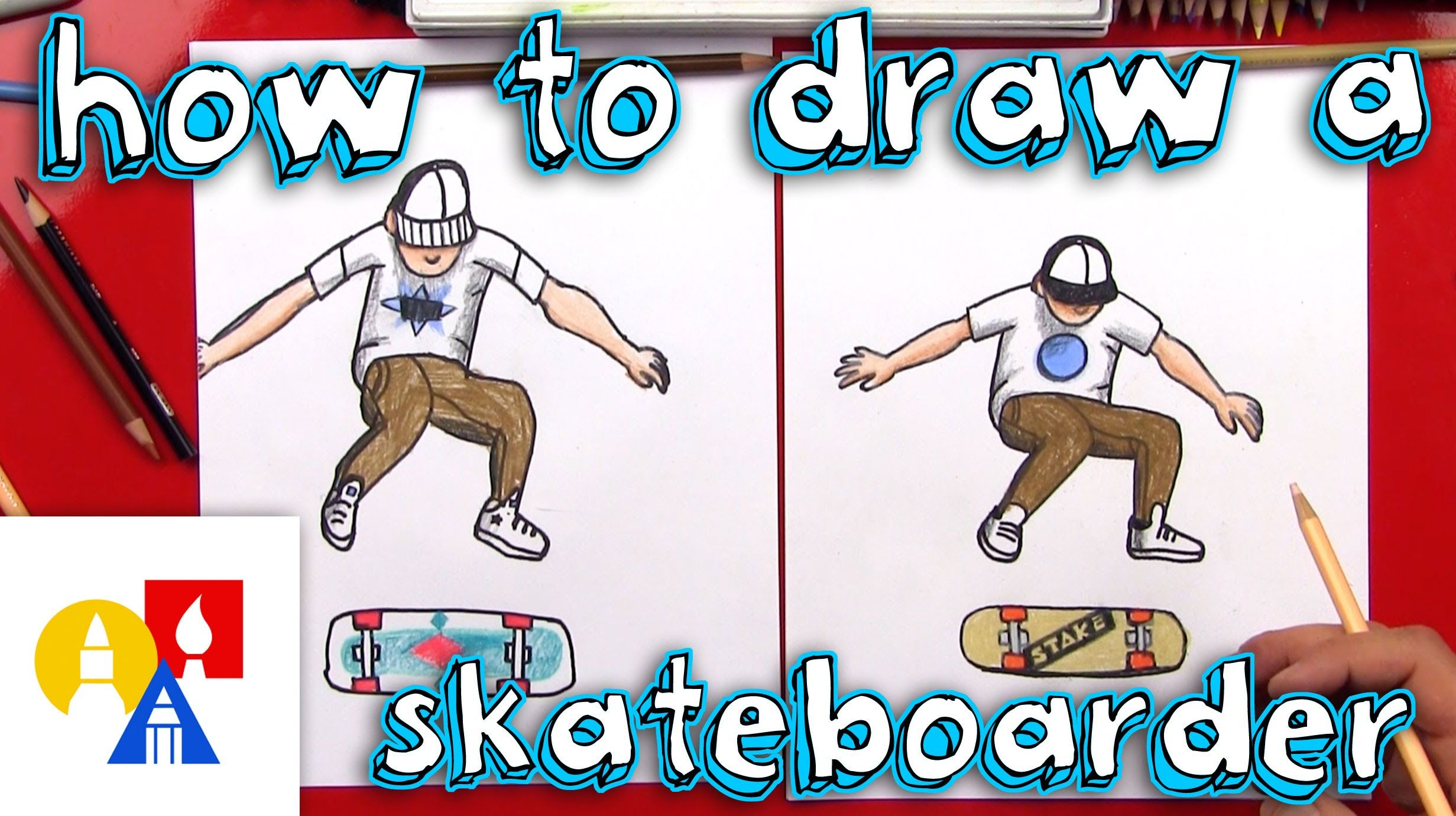 Learn How To Draw A Skateboarder Doing A Kickflip This Lesson Is Meant To Be Simple For Young Artists Art For Kids Hub Elementary Art Projects 7th Grade Art