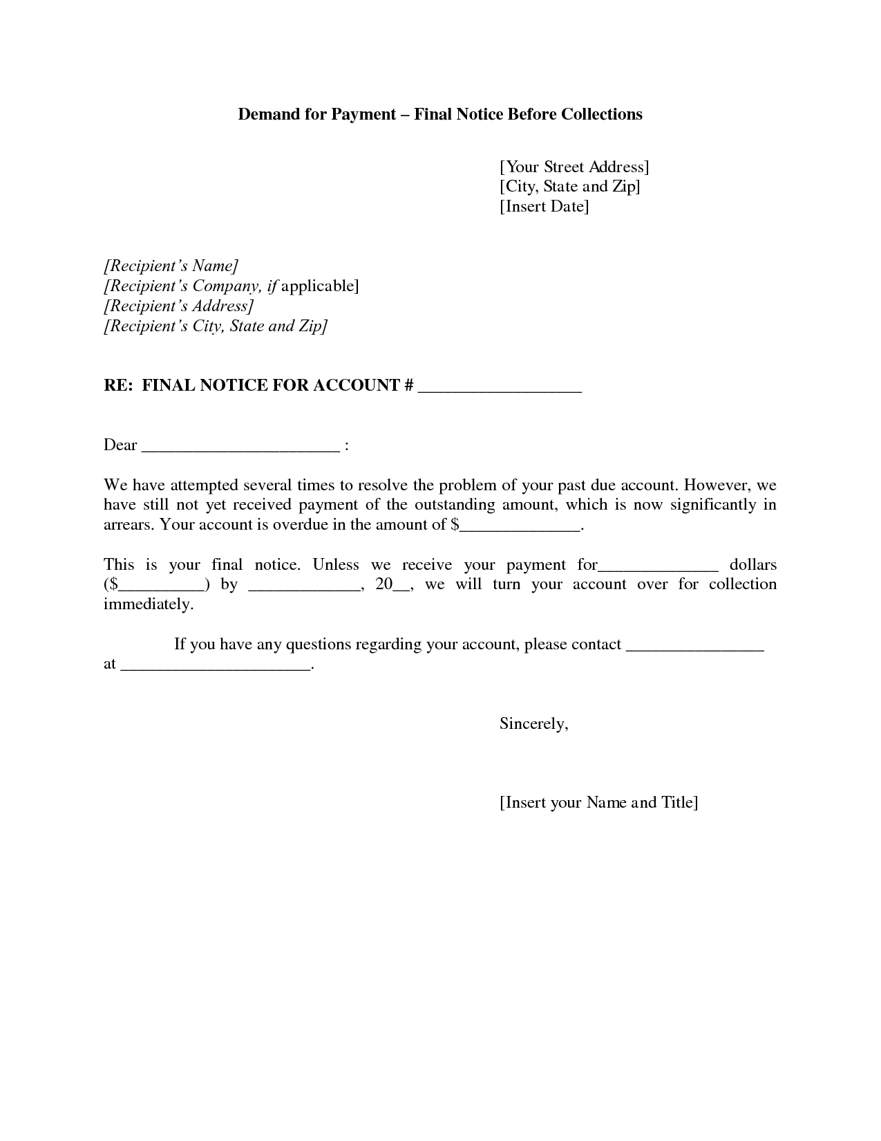 Resume For Debt Collector Final Notice Collection Letter This Letter Is The Final