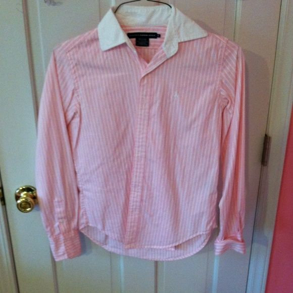 Pin stripped Ralph Lauren Golf Shirt Pink pin stripped golf shirt. Great for business or casual events. Very comfy. Ralph Lauren Tops Button Down Shirts