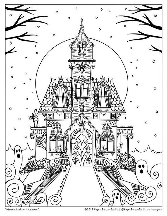 Halloween Haunted Mansion Coloring Sheet 8 5 X 11 Etsy Free Halloween Coloring Pages Halloween Coloring Sheets Fall Coloring Pages