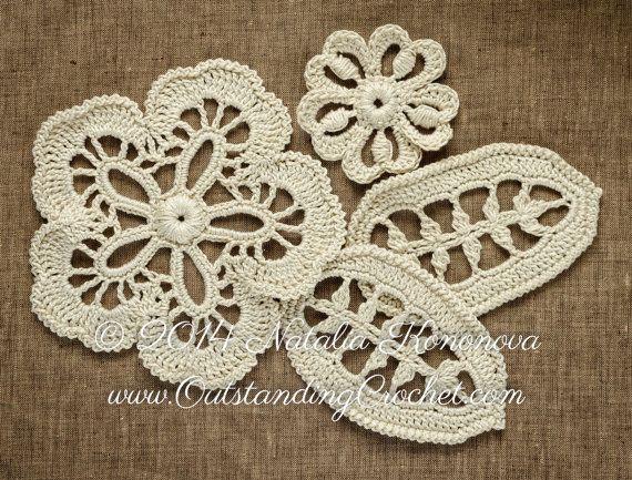 Irish Crochet Flower Leaf Pattern Applique Flower Leaf Lace Motifs