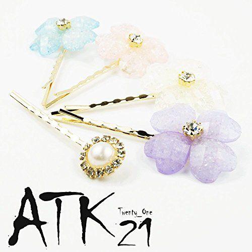 Atk21 2本セット フラワー ビジュー パール ヘアピンセット