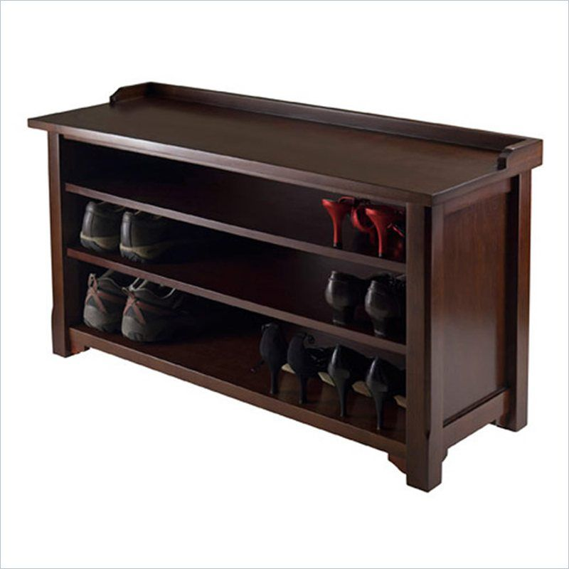 Winsome Dayton Storage Hall Bench With Shelves In Antique Walnut Hall Bench Bench With Shoe Storage Shoe Storage Bench Entryway