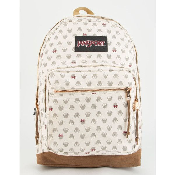 Jansport X Disney Luxe Minnie Right Pack Backpack ($75) ❤ liked on Polyvore featuring bags, backpacks, jansport rucksack, white backpack, jansport daypack, jansport bags and white bag