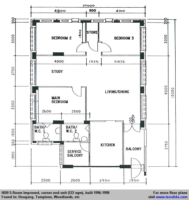 Hdb 5 Room Improved Floor Plan 122 Sqm Floor Plans Modern Bungalow House Plans 2bhk House Plan