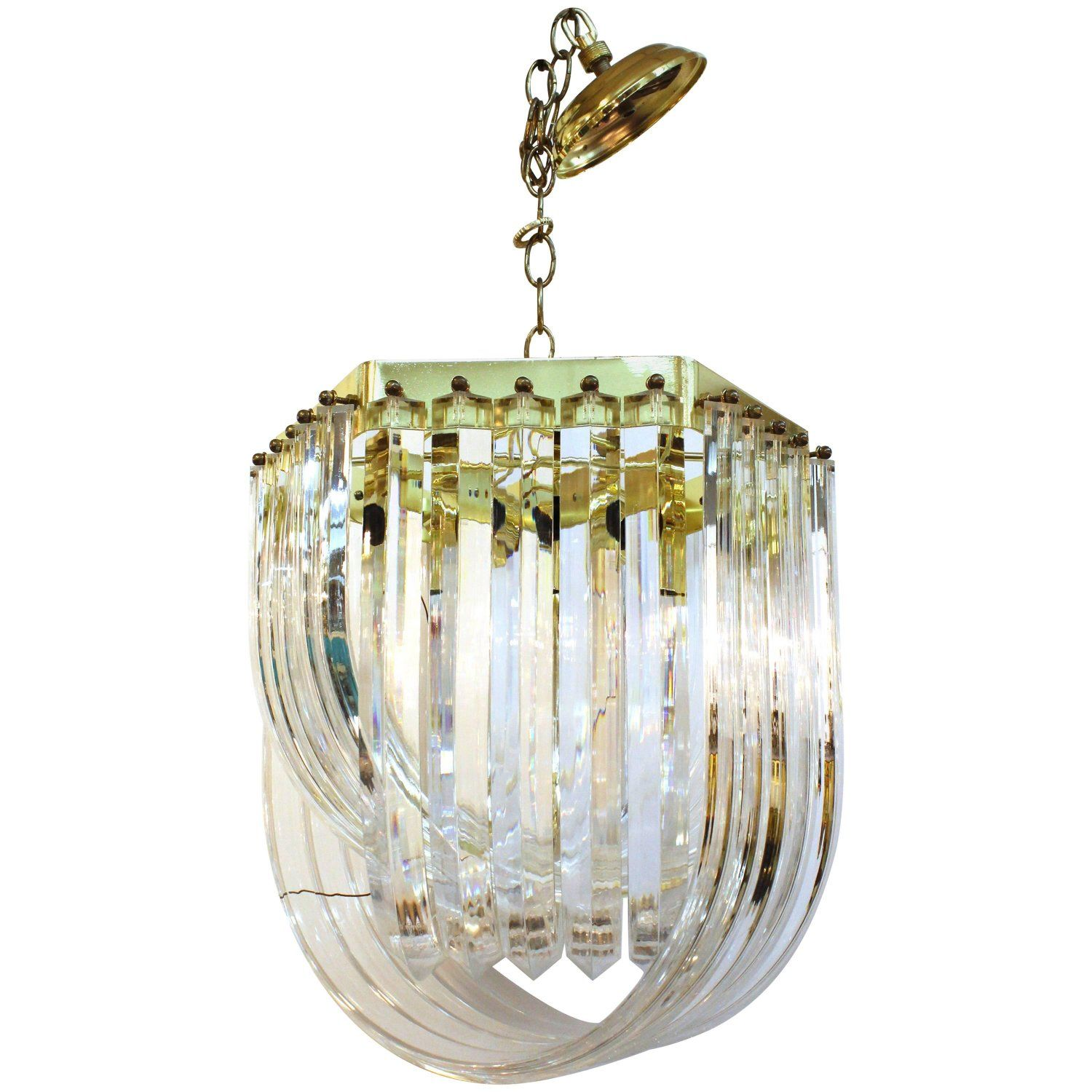 Lucite and Chrome Ribbon Chandelier