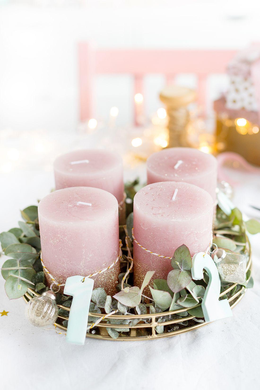 Einfacher DIY Adventskranz Zum Selbermachen: Adventskranz Mit Zahlen Aus  Fimo Und Eukalyptus | Basteln Für Weihnachten Und Dekoideen