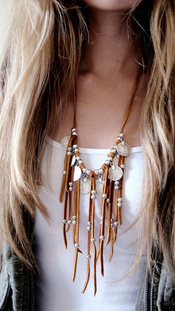 Leather Fringe Necklace Statement Necklace Coin Necklace Coin Charms