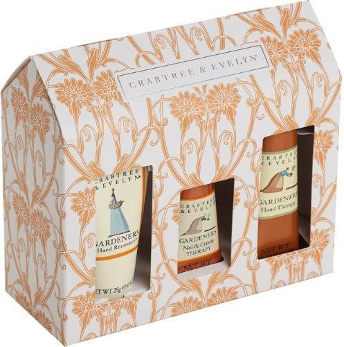 Crabtree & Evelyn Gardeners Mini Sampler #44124 by Crabtree & Evelyn. $39.00. NEW IN RETAIL BOX. 3PC SAMPLER MINI SET. 1x25G Hand Recovery, 1x15G Nail & Cuticle THerapy, & 1x25G Hand Therapy. Crabtree & Evelyn Gardeners Mini Sampler #44124