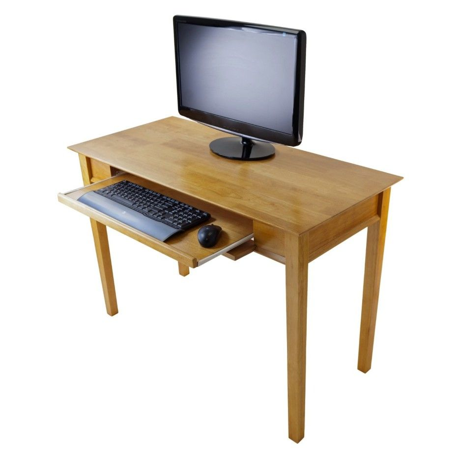 Furniture Simple Natural Ash Wood Computer Table With Keyboard Drawer And 4 High Based Legs Alluring Wood Computer Desk Small Computer Desk Cool Office Desk