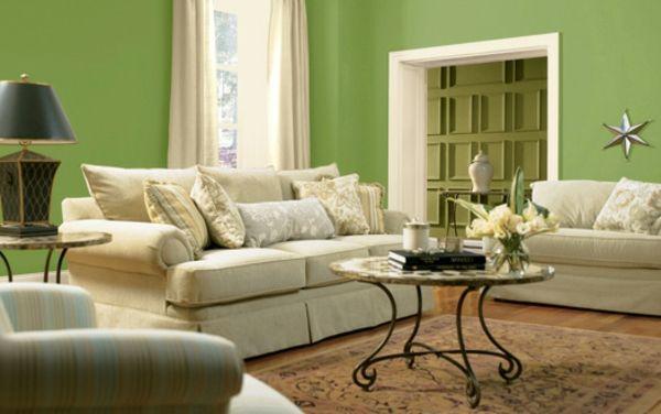 grüne wandfarbe und möbel in weiß für ein modernes wohnzimmer - ideen zum wohnzimmer streichen