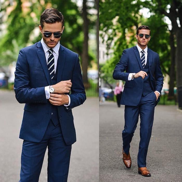 Blauer Anzug Schwarze Krawatte : 1001 ideen wie blauer anzug braune schuhe und passende accessoires kombiniert werden modern ~ Frokenaadalensverden.com Haus und Dekorationen