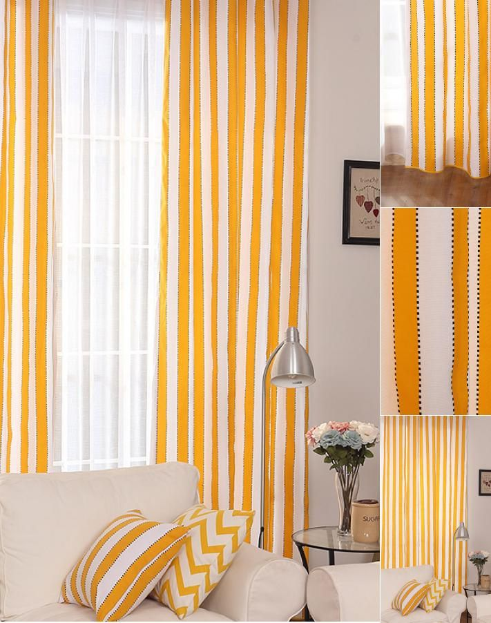 Yellow And White Living Room Designs: Casual Modern Style Cotton/Linen White And Yellow Living