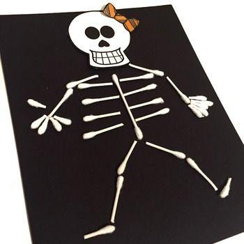 Skeleton Craft | Halloween Writing Activities (Qtip Skeleton)