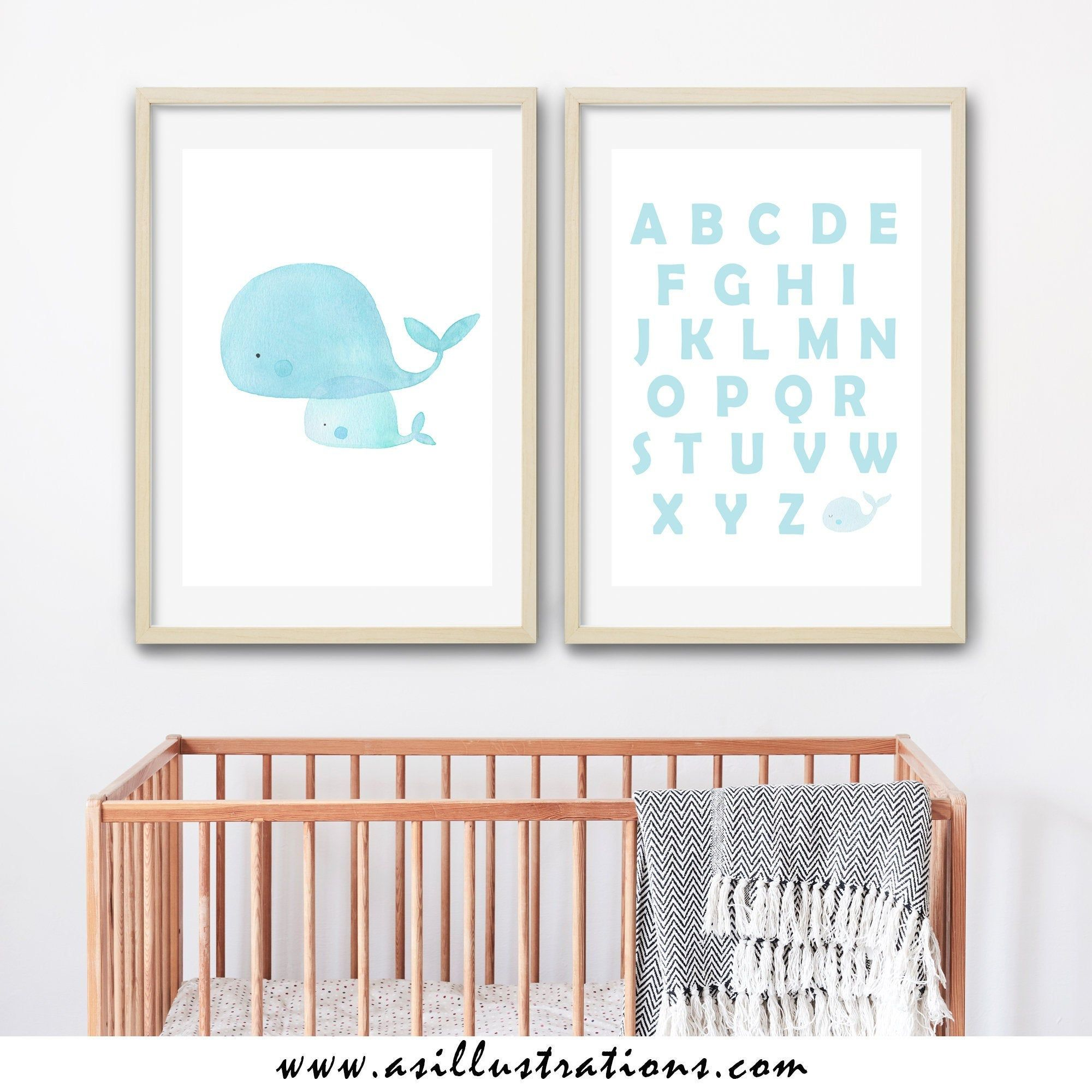 Blue Baby Whale Illustration Print Abc Boy Nursery Wall Art Baby Boy Nursery Whale Nursery Set Of T