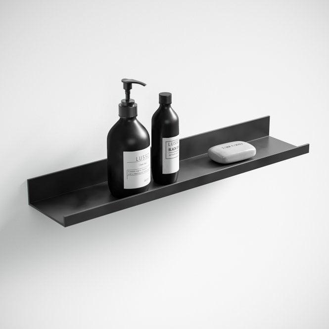 Designo Matte Black Floating Bathroom Shelf 600 In 2020 Black Bathroom Accessories Bathroom Shelves Floating Shelves