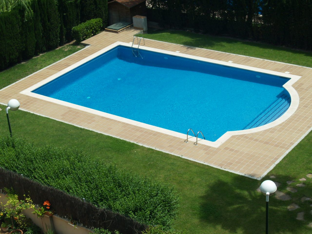Swimming Pool Rectangular Inground With Small Fountain