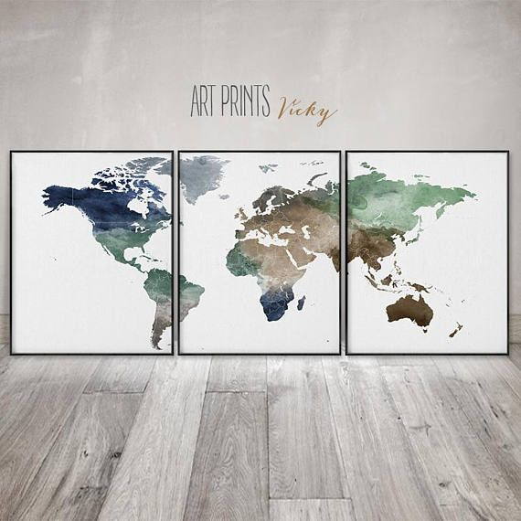 World map 3 pieces wall art posters set of 3 prints large 3 pieces world map 3 pieces wall art posters set of 3 prints large gumiabroncs Gallery