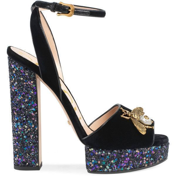 570cbdab4 Gucci Velvet Sandal With Bee ( 995) ❤ liked on Polyvore featuring shoes